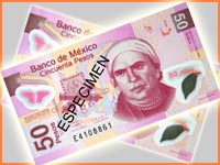 New 50 peso bill in Mexico.