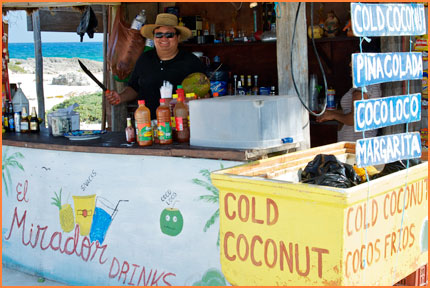 Cozumel cold coconuts