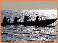Mayan canoe crossing