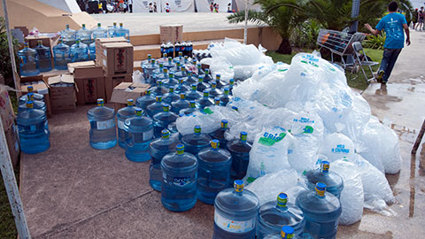 Ironman Cozumel water and ice
